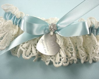 Something Blue Wedding Garter, Personalized Garter in Ivory Venice Lace with Engraving, a Bow and Rhinestones
