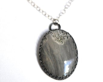 Grey Jasper and Sterling Silver Necklace