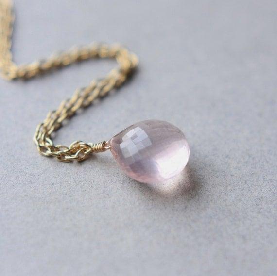 Rose Quartz Necklace, Rose Quartz Briolette, Faceted Gemstone Necklace, Romantic Pastel Jewelry