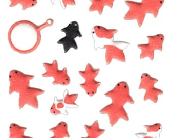 Goldfish Stickers - Fish Stickers - Japanese Stickers - Traditional Japanese Fish  (S130)