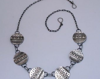 Brocade - sterling silver statement necklace