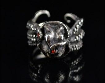SALE -Kraken 8 with Sapphires, Octopus Ring, Tentacle Jewelry, Custom sterling silver Jewellery