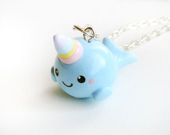 Cute Rainbow Horn Baby Blue Narwhal Polymer Clay Charm or Necklace