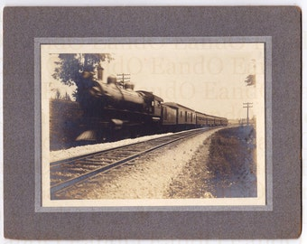 Faster Than a Speeding Train – Fantastic Early 1900s Cabinet Card Photo of a Steam Train Racing Down the Tracks