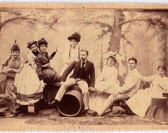 Roll out the Barrel, Fantastic Cabinet Card Photo of an Acting Troupe Hamming for the Camera (1st of 2 Cabinet Cards from the Same Group)