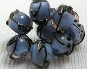 Metallic Vines on Blue  SRA Handmade Lampwork Beads 1664