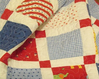 Modern Baby Quilt - Celebration - Baby Boy - Shower Gift - Crib blanket - Nursery bedding - elephant, sailboat, stars, red, blue, handmade