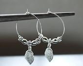 Silver Hoop Leaf Earrings