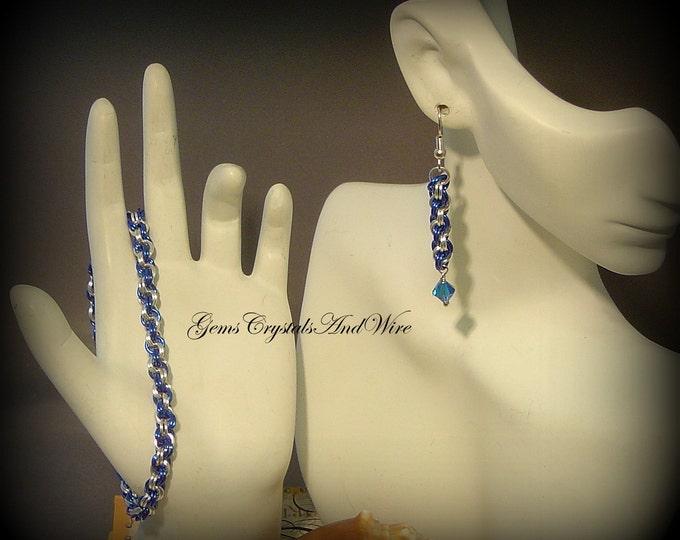 Blue, Silver, Team Spirit, Chain Bracelet, Chainmaille