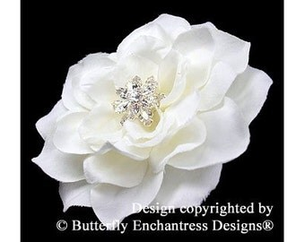 White Hair Flower, Bridal Hair Accessory, Wedding Flower Clip - White Tahitian Gardenia Flower Hair Clip - Starfire Rhinestone