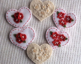 Six Large Felt Hearts With Flowers