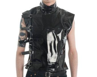 PVC Buckle Sleeveless Top Supernal Clothing goth gothic cyber fetish clubwear menwear fantasy sci-fi