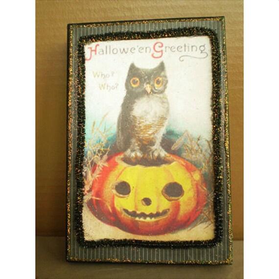 Halloween decoration retro owl decoupage box fall spooky autumn home decor halloween artist bazaar