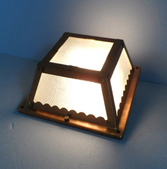 mid century modern ceiling light fixture copper by