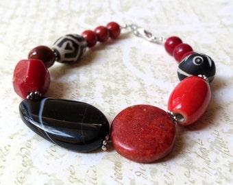 Bracelet chunky red black stones. Take 50% off.