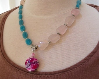 Rose quartz, amazonite and lampwork bead necklace short chunky statement. HALF PRICE SALE. Take 50% off.