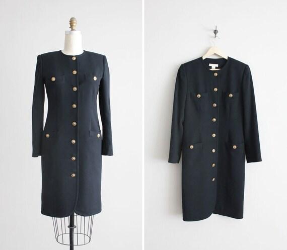 black wool dress / military dress / vintage black dress