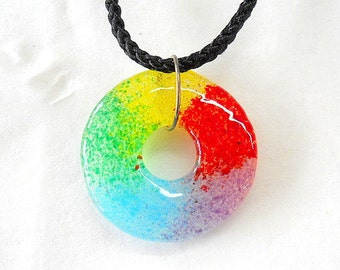 Hand Created Fused Glass Rainbow Round Circle Pendant 1.25 inches Made in Oregon
