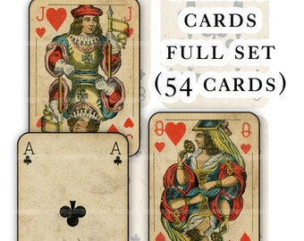 Antique Playing Cards full deck digital collage sheet PDF set 15 full sheets