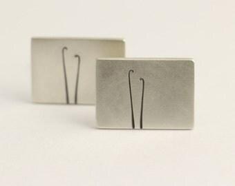 Cufflinks in Sterling Silver With Fiddlehead Ferns Koru