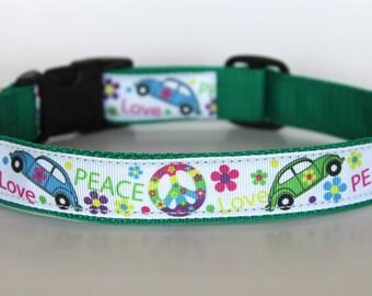 "1"" wide Peace Dog Collar - Hippy - Love - Peace - size M-L"