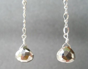 Pyrite Teardrop Clip-on Earrings, Faceted Metallic Drop Dangle Clipons, Mixed Metal Earrings, Gold Silver Ear Wires, Handmade, Sutter