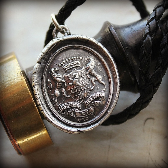 Bear and Forbear Armorial Wax Seal Leather Necklace Latin motto wax seal jewelry - Latin motto Hold On and Hold Off - L1155