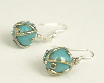 Earrings: Turquoise Ball Earrings - Glass Bead Jewelry - Lampwork Jewelry - Polka Dot Jewelry - Beaded Jewelry - Teal Jewelry