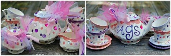Fancy Nancy inspired Tea Party Handpainted Personalized Tea Set and Tea Cups  for little girls