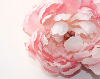 Silk Blend Peony in Shabby Chic Whimsical Light Pink - silk artificial flower - ITEM 0511