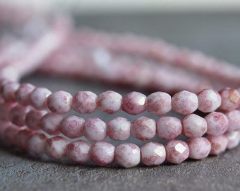 Czech Glass Bead Opaque Topaz Pink Luster 4mm Faceted Round : 50 pc