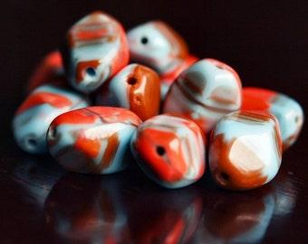 Czech Glass Bead 13x9mm Abstract Art Nugget : 10 pc