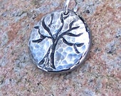 Hammered Tree Pendant, Tree Charm, Tree without leaves, hand hammered pendant, rustic jewelry