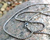 Oxidized Sterling Silver Venetian Box Chain, 18 inches long, 1.7mm diameter