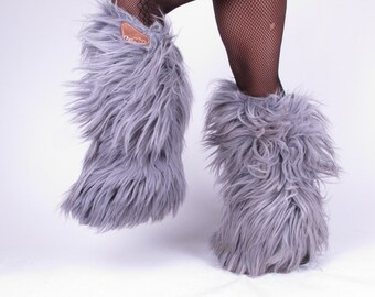 vintage Lotto gray 70s tall knee OTK high PLATFORM made in Italy Fur After Ski Yeti insulated winter snow boots 37