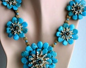 "Large Turquoise Centerpiece Necklace ""For Your Eyes Only""."