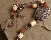 Artisan glass and etched copper tiger necklace... Crouching tiger...hidden dragon.  by Simply Cindy