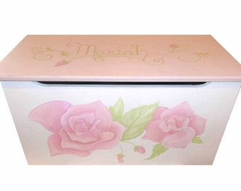 Childrens wooden toy box - Sweet Roses