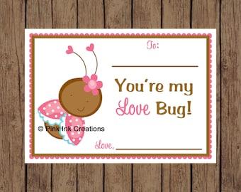 Printable Valentine LOVE BUG Ladybug Kids Valentine Card - Instant Download