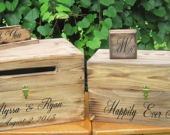 Wedding Box Set Card Wine Ring Keepsake Chest Ceremony Boxes Personalized Custom Country Rustic style Bride Groom names and date