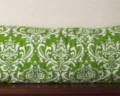 Decorative-Accent Body Pillow Cover - Approx 20 X 54 inch Traditions White on Chartreuse Damask-Free Domestic Shipping