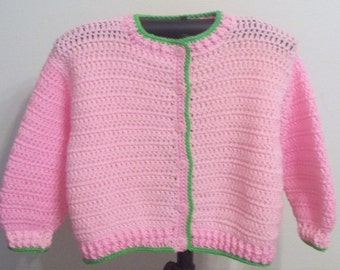 Girl's Pink on Pink and Lime Green Sweater - Hand Crocheted - Ready to Ship