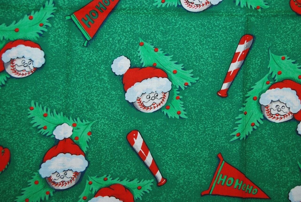 Vintage Santa Baseball Novelty Fabric
