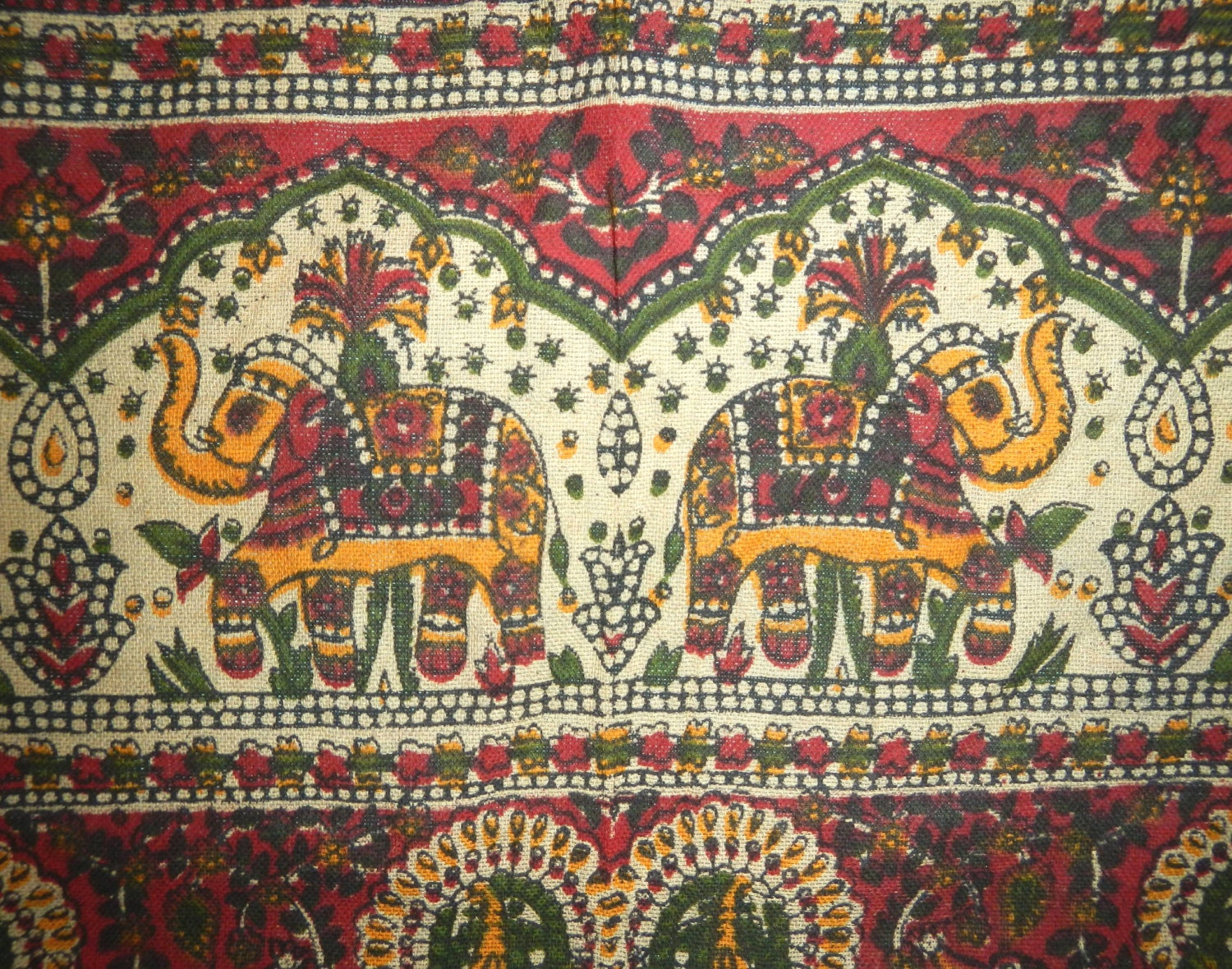 Hippie Tapestry Fabric Bohemian Indian Paisley Elephant