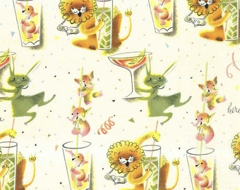 Here's To You - Fabric by Michael Miller - Cream- 1 Yard - 9.75 Dollars