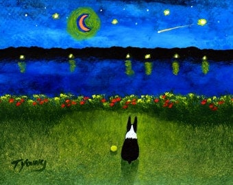 Boston Terrier dog Folk art PRINT of Todd Young painting Across the Bay