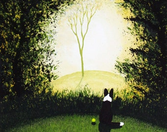 Border Collie Dog Folk Art PRINT Todd Young painting Forest Light