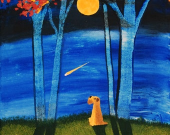Soft coated Wheaten Terrier Dog Folk Art PRINT Todd Young painting AUTUMN MOON