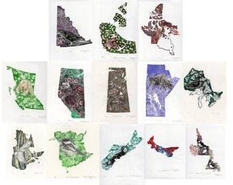 Complete set of 13 linocuts of Canadian Provinces and Territories with their Symbols