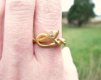 Antique Snake Ring, Sparkly Rose Cut Diamond Eyes, 14 to 15K Gold, English, Victorian Era